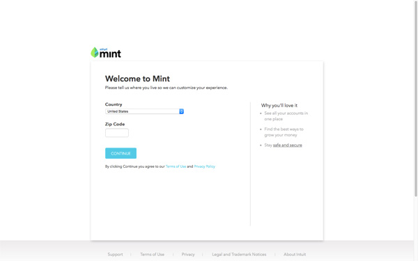 Mint Sign Up Page
